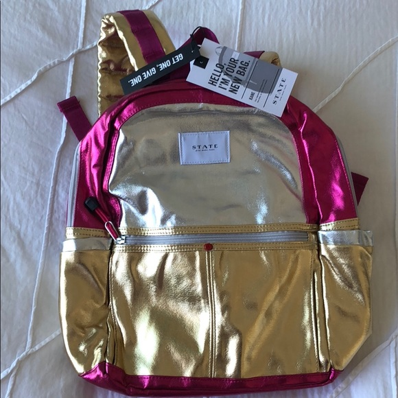 8d8dce9aa06 STATE Kane Metallic Backpack